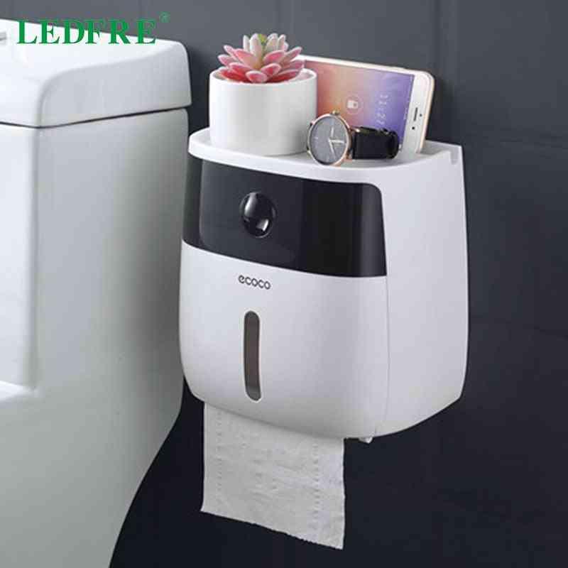 Plastic Toilet Paper Holder Bathroom Double Paper Tissue Box Wall Mounted Paper Shelf Storage Box Toilet Dispenser