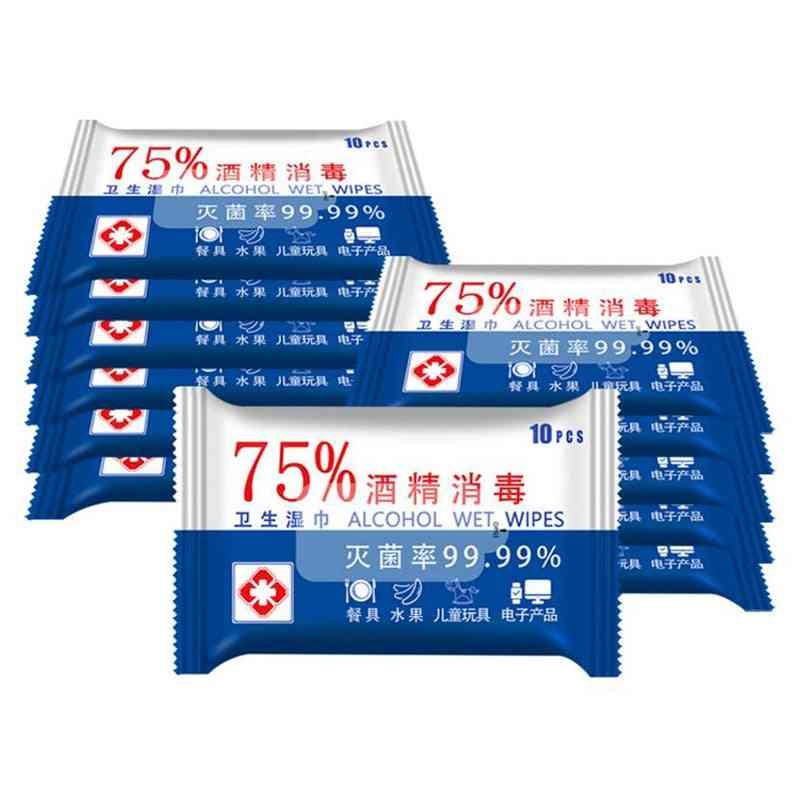 5 Set - 50 Sheets Portable 75% Alcohol Wet Wipes For Disinfection