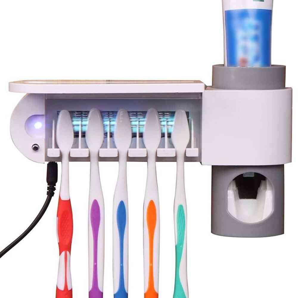 Antibacteria Uv Light Ultraviolet Toothbrush Sterilizer - Automatic Toothpaste Dispenser Toothbrush Holder For Oral Hygiene Cleaner