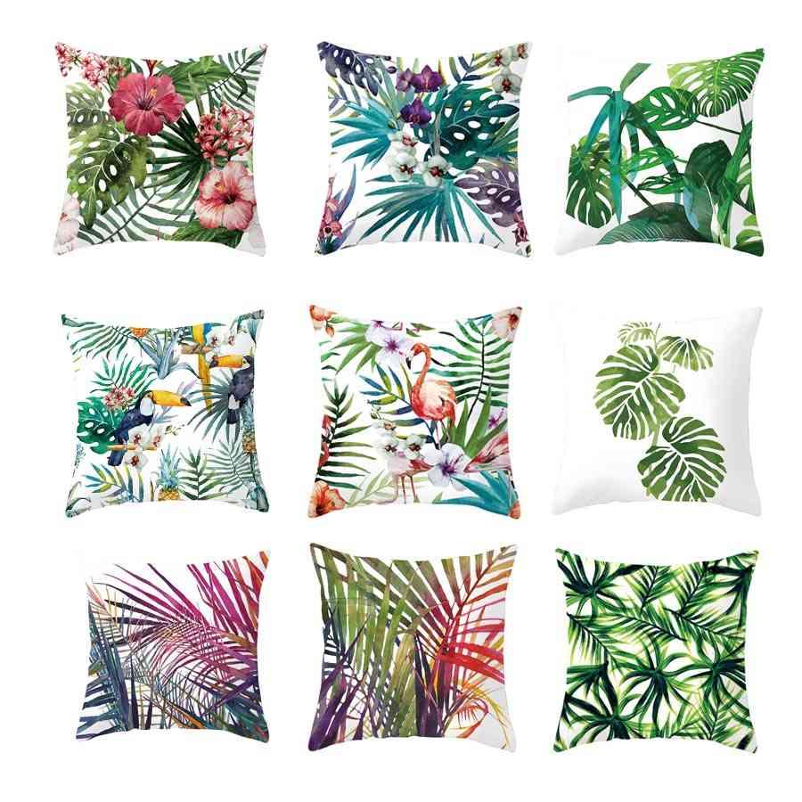Tropical Plants Polyester - Decorative Pillow Case