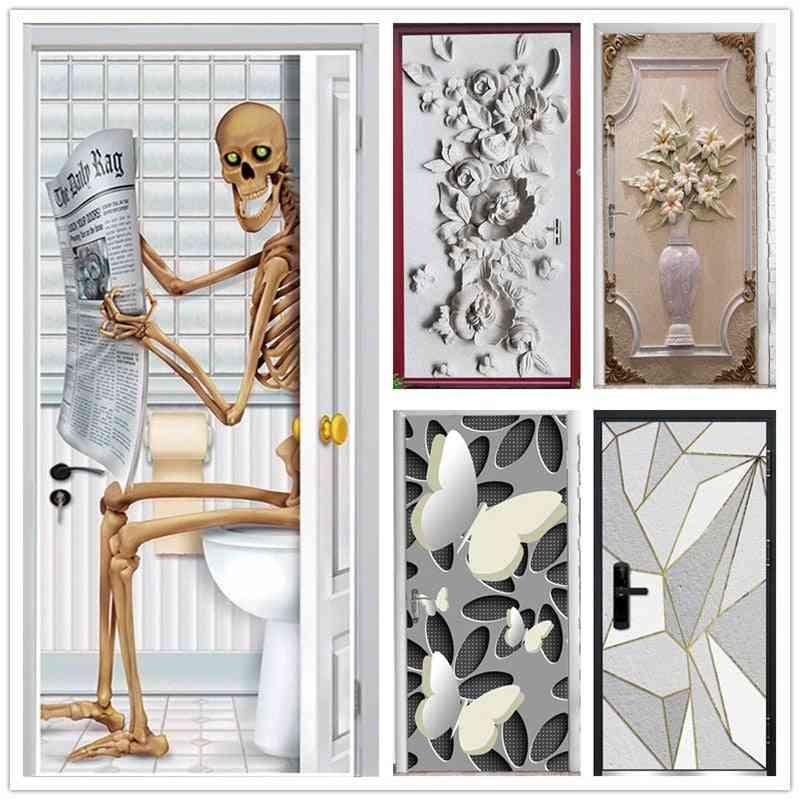 Creative Skeleton, Embossed Flower Pattern, Animal, Scenery Door Stickers - Pvc Self Adhesive Wallpaper Home Decor Murals, Refrigerator Art Posters