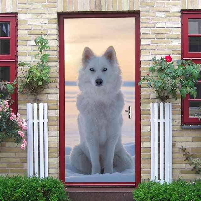3d Pvc Self Adhesive Waterproof Scenery & Animal Wall Mural Decals Sticker - On The Doors Diy Home Design Door Sticker