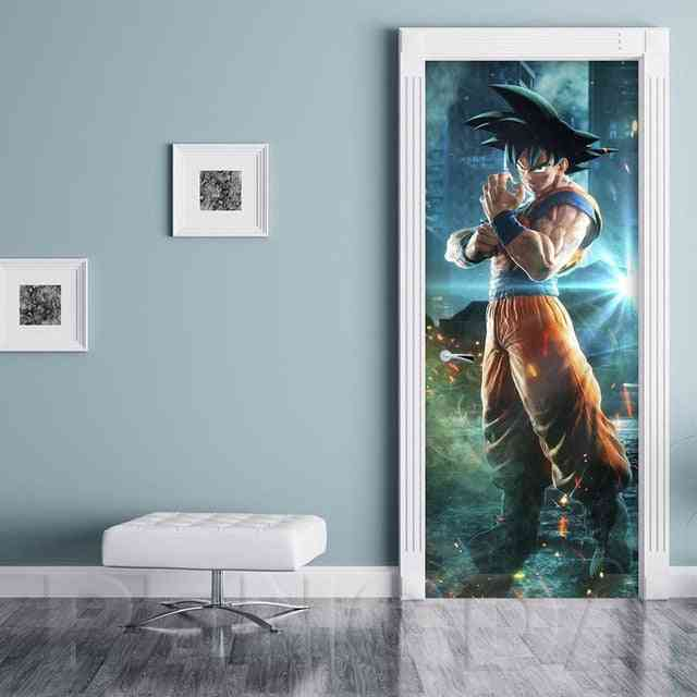 3d Anime Dragon Ball Goku Picture Self Adhesive Decal Canvas Door Sticker