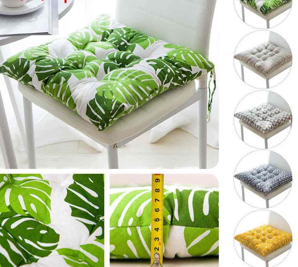 Printed And Solid Color, Square Shape Chiar Cushion