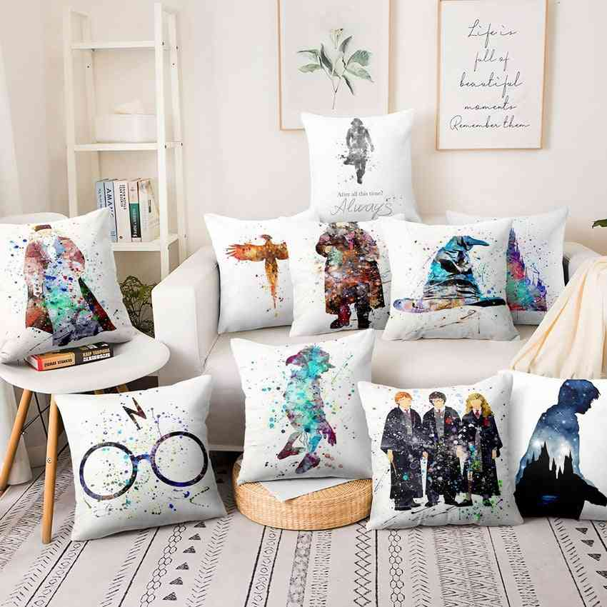 Watercolor Illustration, Thin Linen And Single-side Printed Pillow Cover