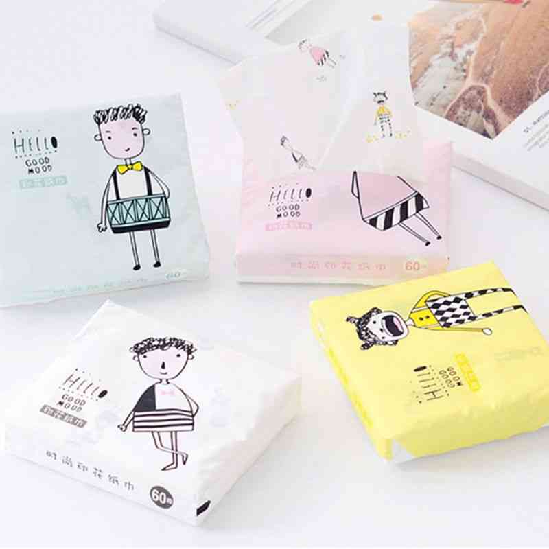 Disposable Facial Tissues - Thickened Cute Cartoon Printing Sanitary Paper