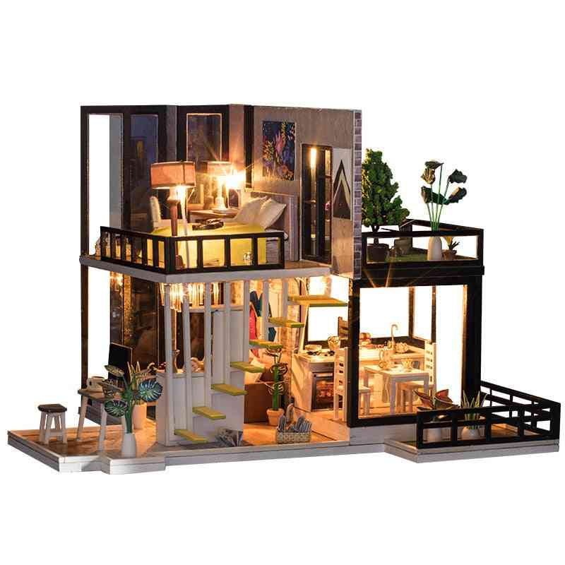Doll Wooden Houses With Kitchen Miniature Villa Dollhouse And Furniture Kit For Kids