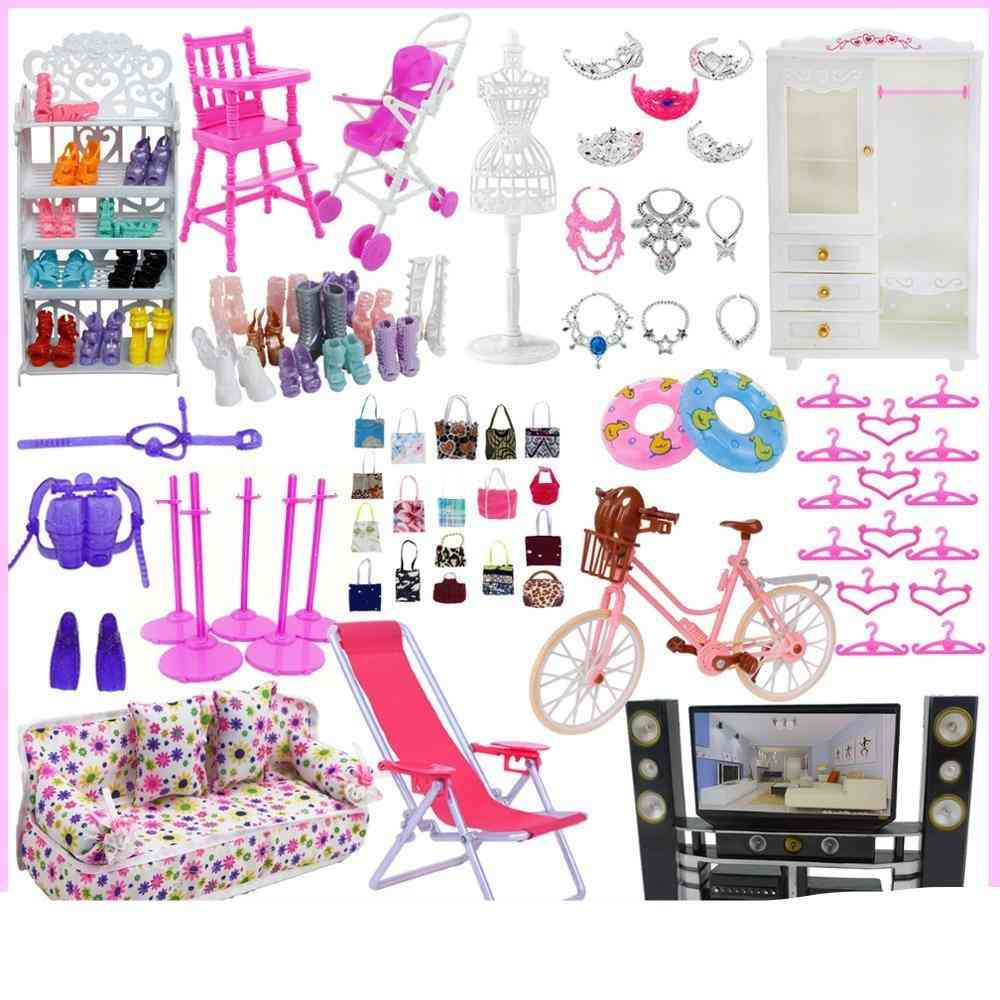 Mix Cute Doll Furniture, Pretend Play Toy Hangers , Tv Sofa Shoes