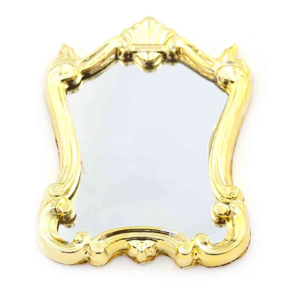 Furniture European Frame Mirror, Doll House Miniatures 1:12 Scale Accessories Plastic Mirror