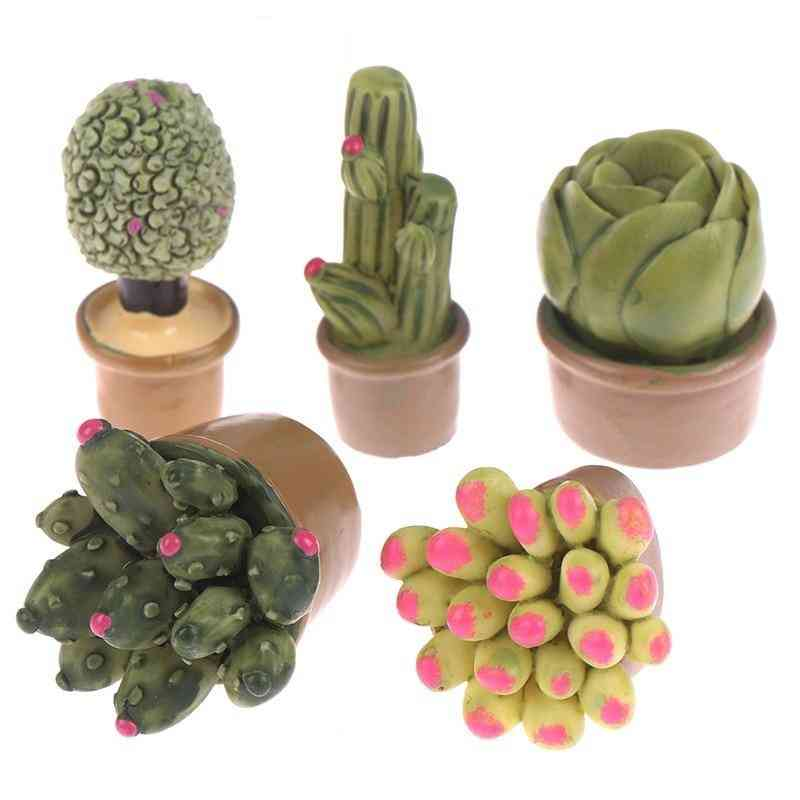 1:12 Miniature Green Mini Simulation Potted Plants, For Doll House