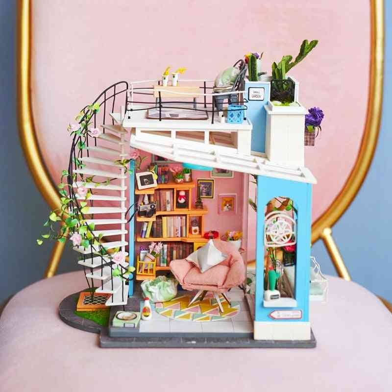 Miniature Doll House Furniture Wooden Dollhouse Kits For