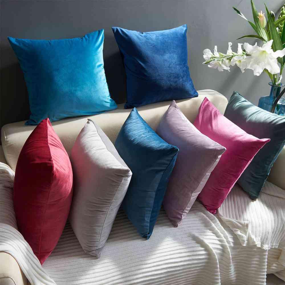 Solid Color Soft Velvet Decorative Pillow Case
