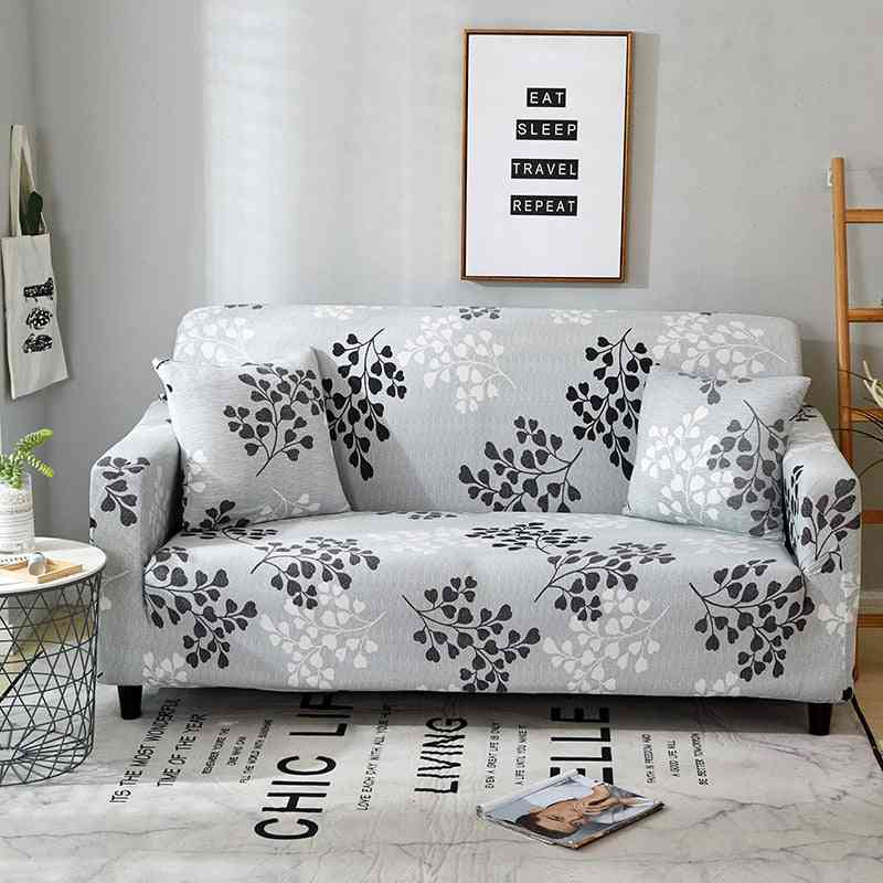 Nodal Floral Print, Stretchable, Anti Dust And Slip-resistant Sofa-pilow Cover Set