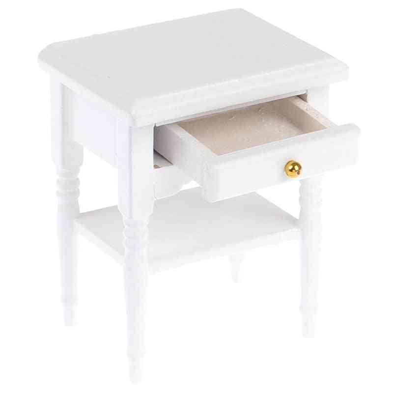 Doll House Bedside Cupboard Dolls Mini Furniture Modern Night Table 1:12 Scale Wooden Miniature