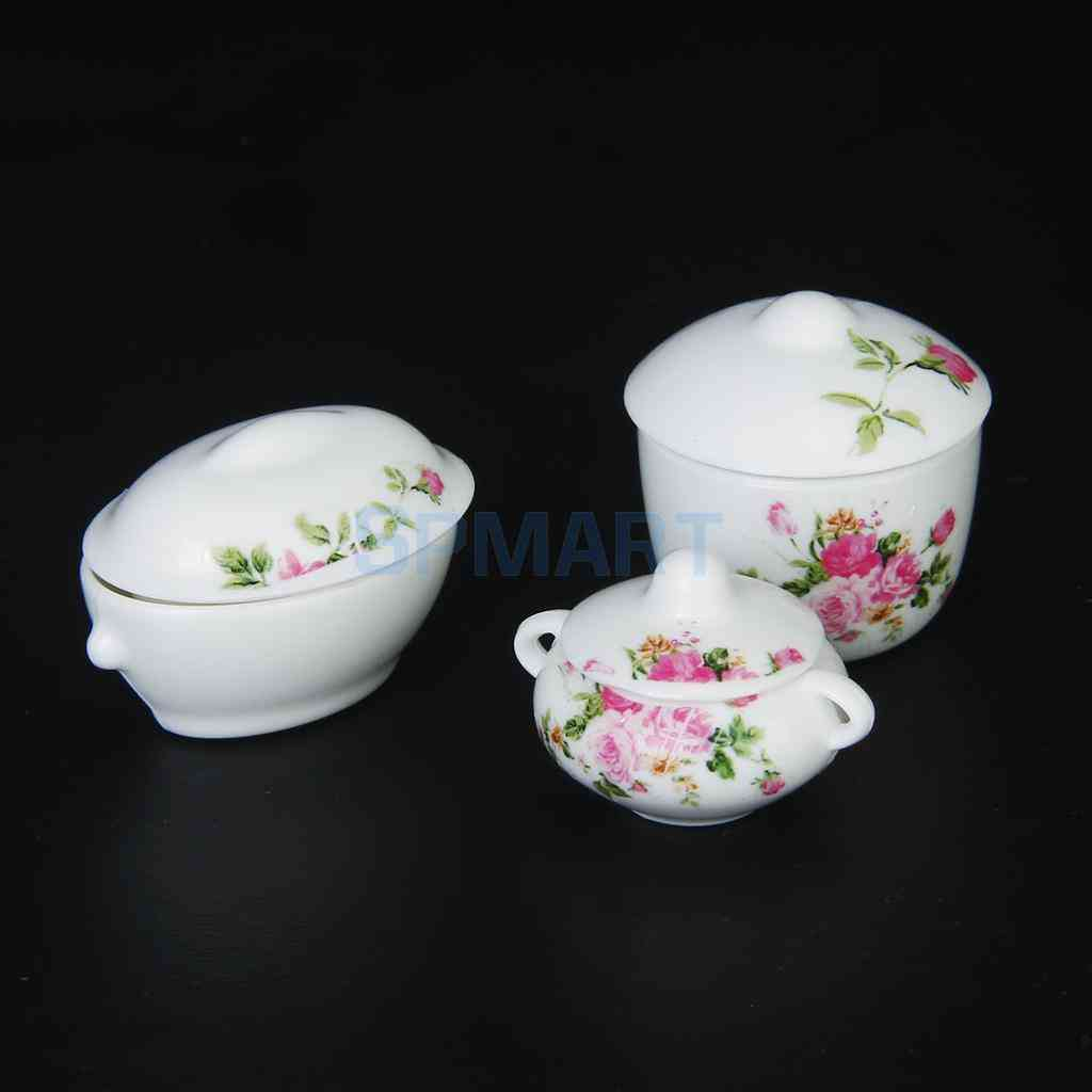 Miniature Casserole Pot Bowl Lid With Floral Pattern