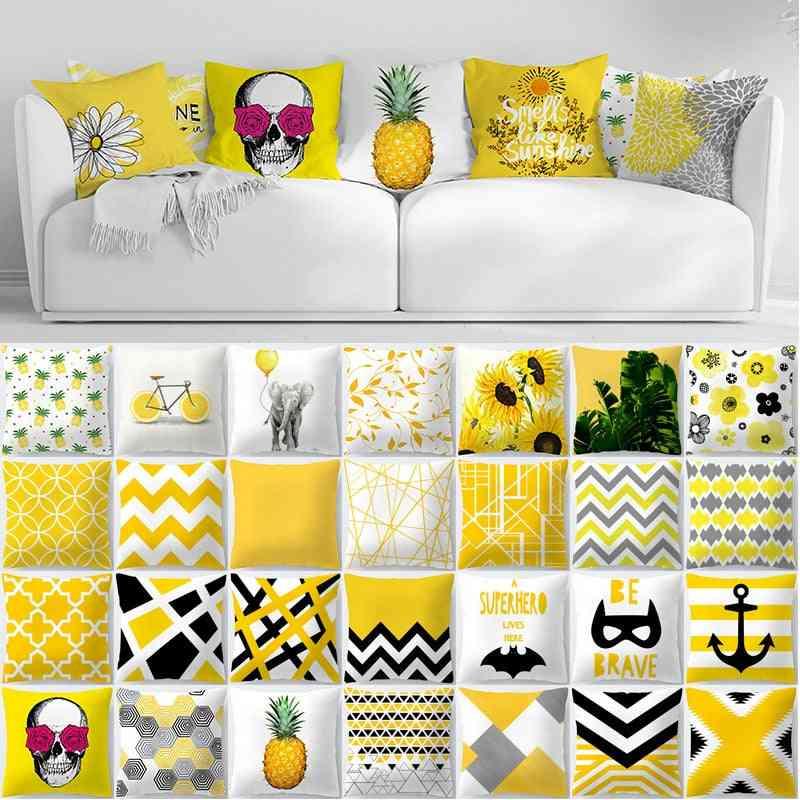 Summer Geometry Yellow Skulls, Pineapple, Leaf, Flower Print Decorative Pillowcase
