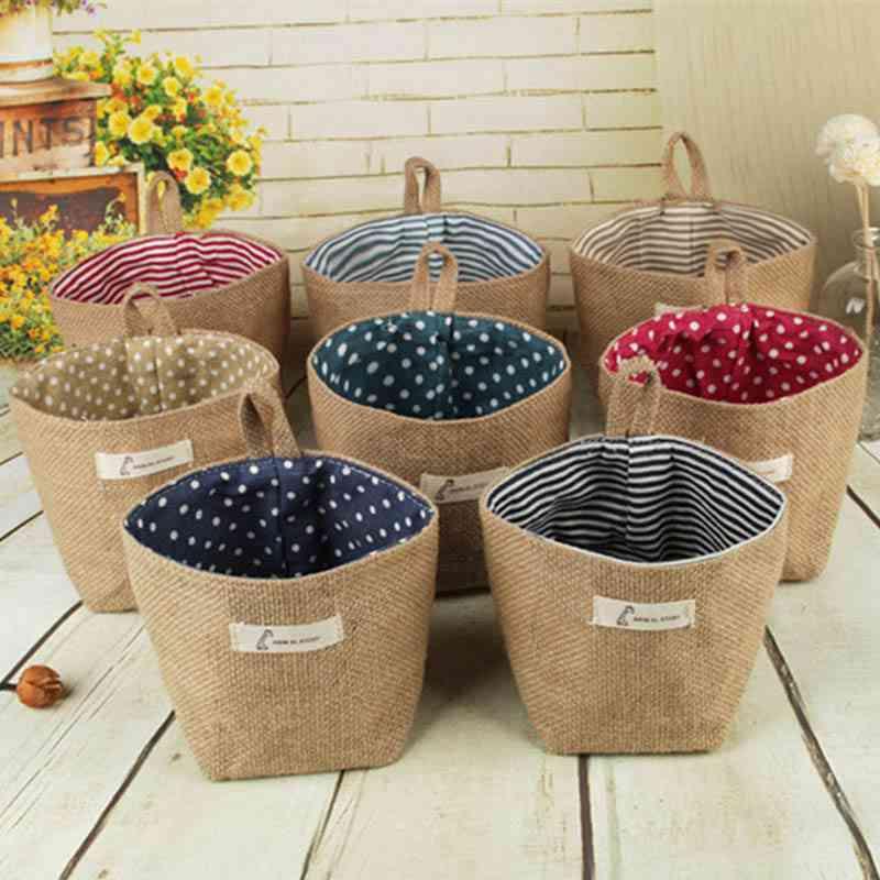 Small Storage Sack Stripe Dot Hanging Bag - Sundries Storage Basket, Flower Pot, Cosmetic Bag