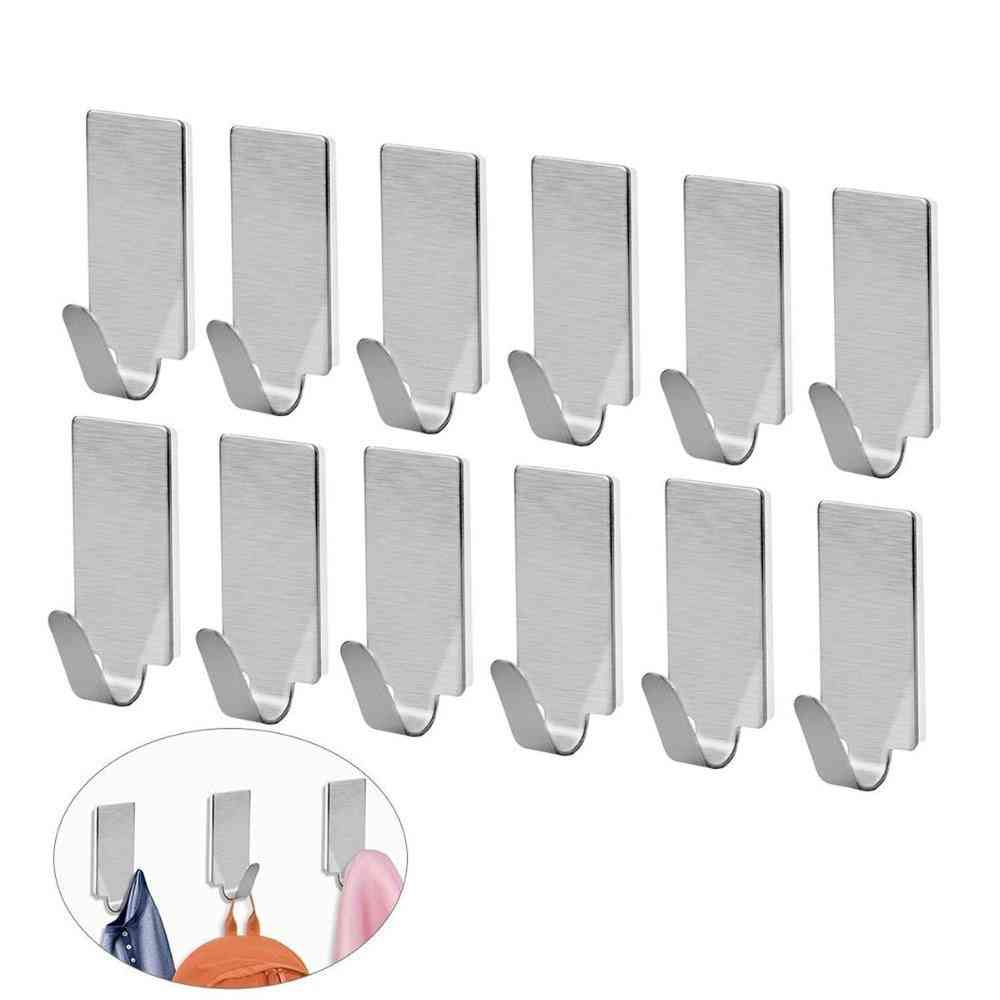 Self-adhesive, Stainless Steel Hooks For Hanging Robes, Hats, Bag, Key