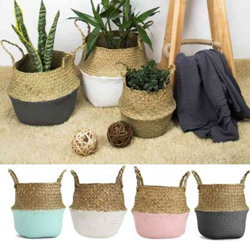 Rattan Straw Seagrasss Folding Hanging Basket, Flower Pot, Vase For Home Garden