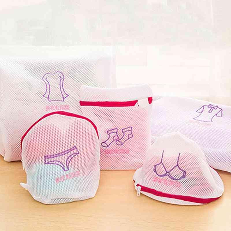 Foldable Delicates Zippered Mesh Laundry Wash Bags - Washing Machine Clothes Protection Net Basket