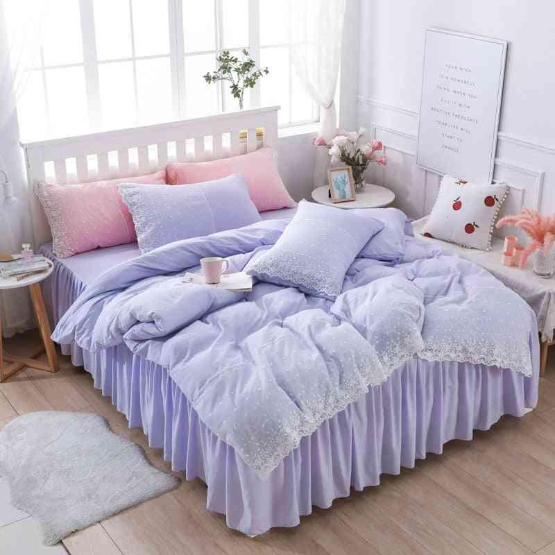 Modern Cute Princess Style Floral Lace Duvet Cover Set