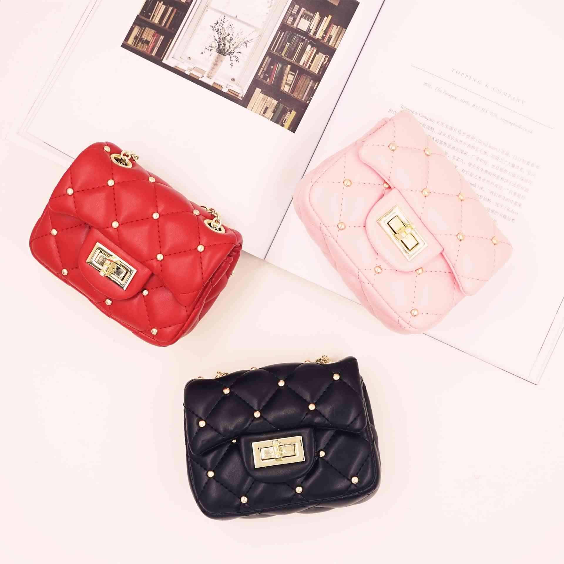 Mini Cute Pu Leather, Rivet Bags With Chain