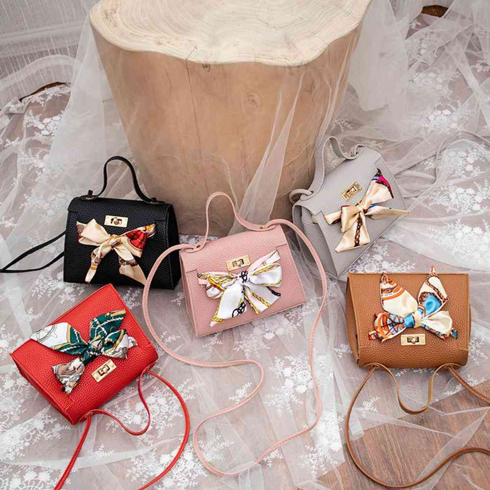 Women Pu Leather Handbag , Shoulder - Lady Crossbody Bag Tote Satchel Purse With Scarf Decor