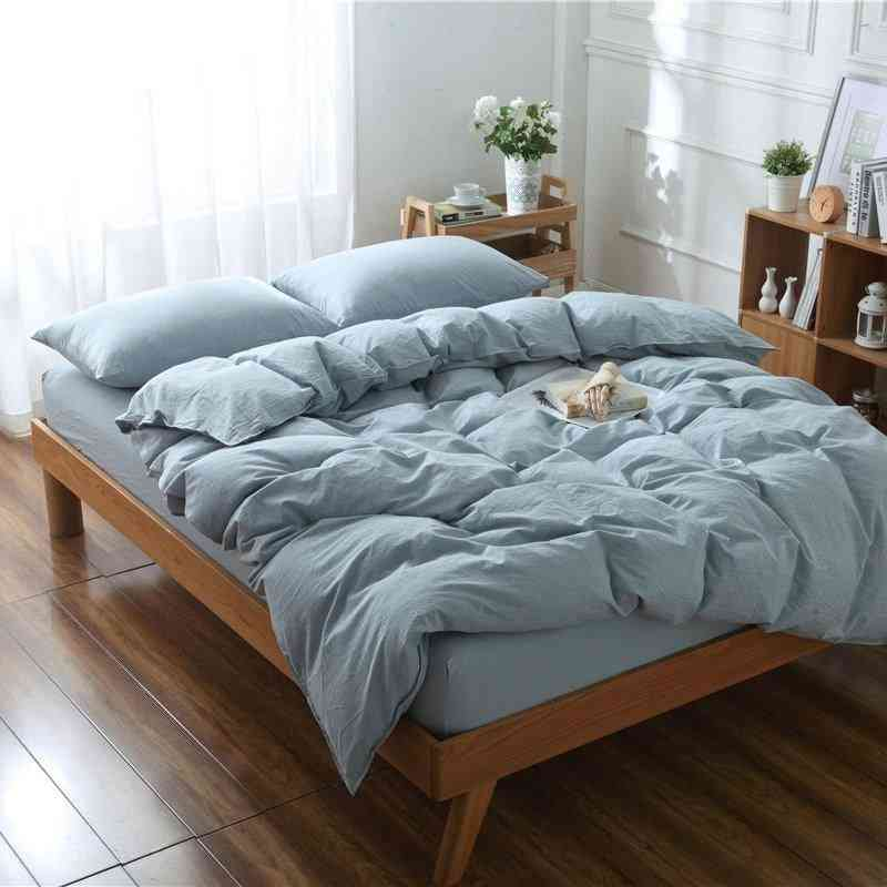 Simple Yarn-dyed Washed Cotton Solid Color Brief Duvet Cover Set