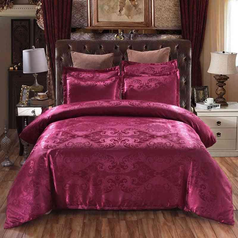 Luxury Jacquard Tribute Silk Europe Floral Printed Duvet Cover Set