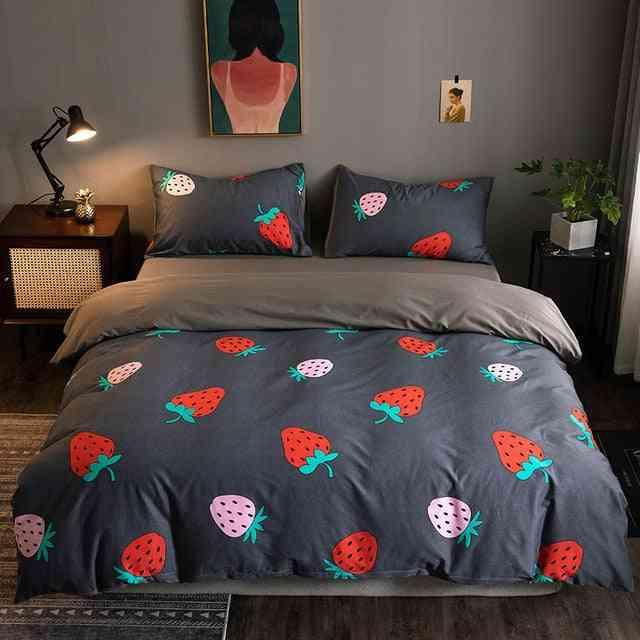 Modern Cotton Plaid Printed Duvet Cover Set - Single, Queen Size Bedding Set