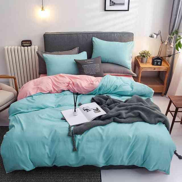 Solid Color Mirco Fiber Nordic Printed Bedding Set