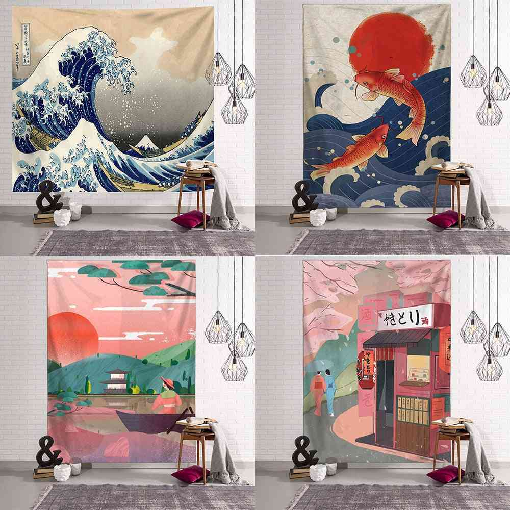 Japanese Scenic Jacquard Style Wall Hanging Tapestry
