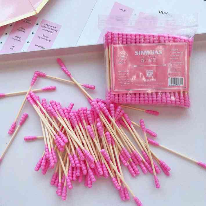 100 Pcs/pack Double Head Cotton Swab Sticks - Female Makeup Remover , Cotton Buds Tip For Medical Nose , Ears Cleaning