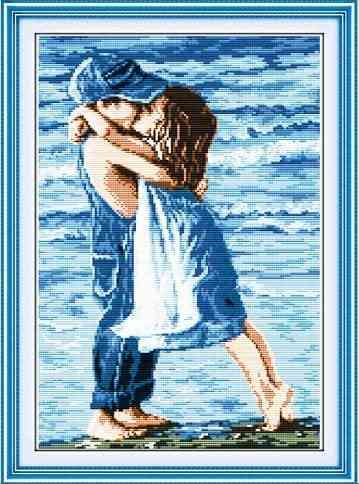 Childhood Lovers On Seaside Counted Printed On Canvas Cross Stitch Embroidery Kit