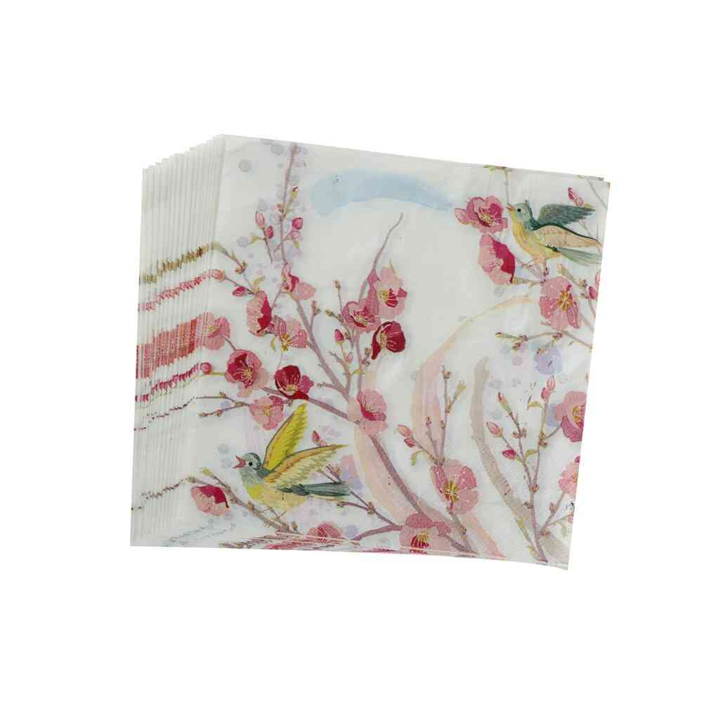 20pcs Of Flower Printed-paper Napkins For Wedding And Party Decoration