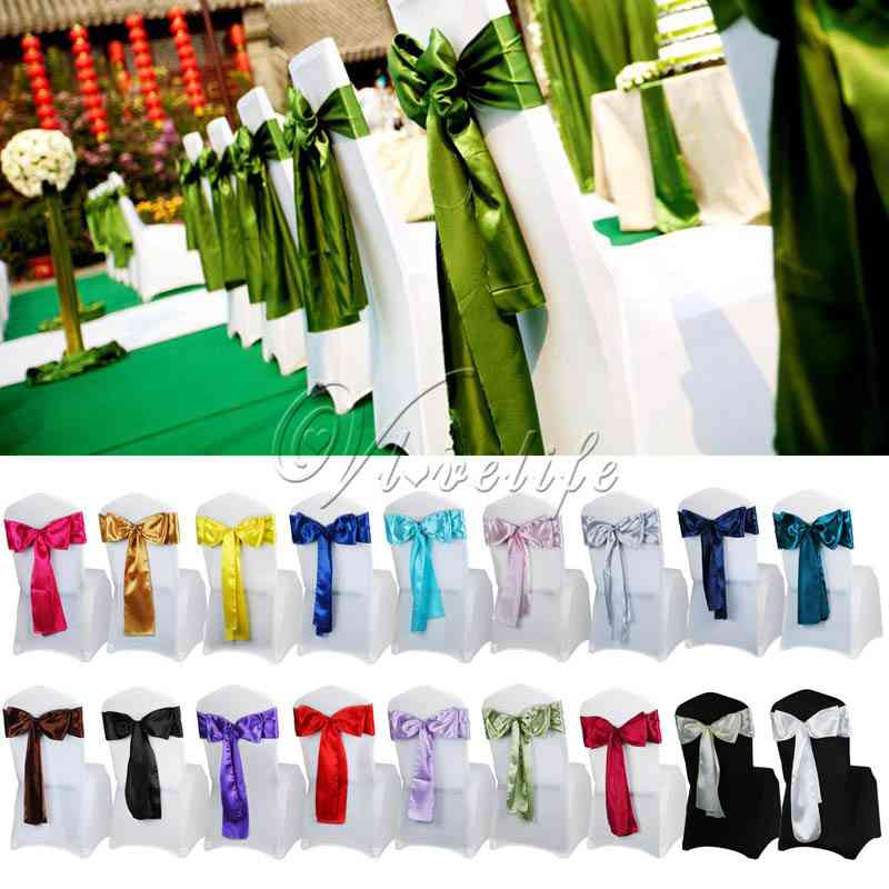 Satin Chair Sash Bow Ties For Banquet / Wedding Party
