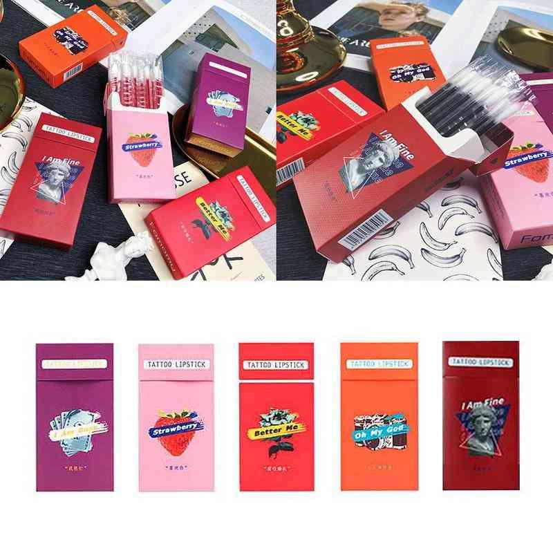 20pcs/set Lipstick Cigarette - Case Cotton Swab Lipsticks Microbrush, Long Lasting Waterproof Disposable Brushes