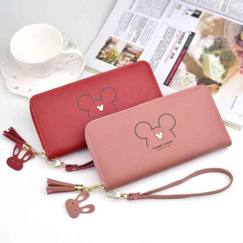 Disney Mickey Mouse Big Cute Wallet Lady Long Zipper Tassel Key Coin Purse