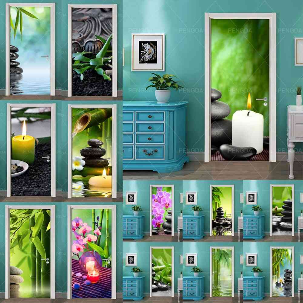 Self Adhesive Stone Flower Bamboo 3d Diy Art, Pvc Wallpaper Print Picture
