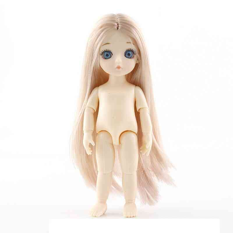 Movable Jointed Dolls - Mini 16cm Bjd Baby Girl , Doll Naked Nude Body Fashion Dolls Toy For