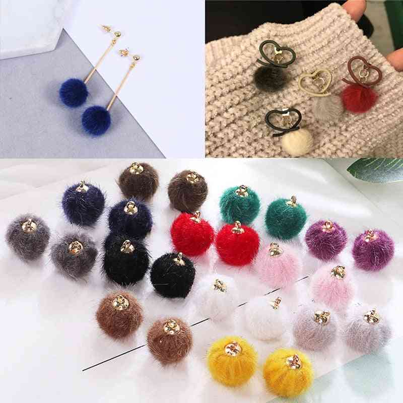 Fashion Colorful Mink Hair Round Plush Pompom Ball With Hanging Cap For Diy Craft