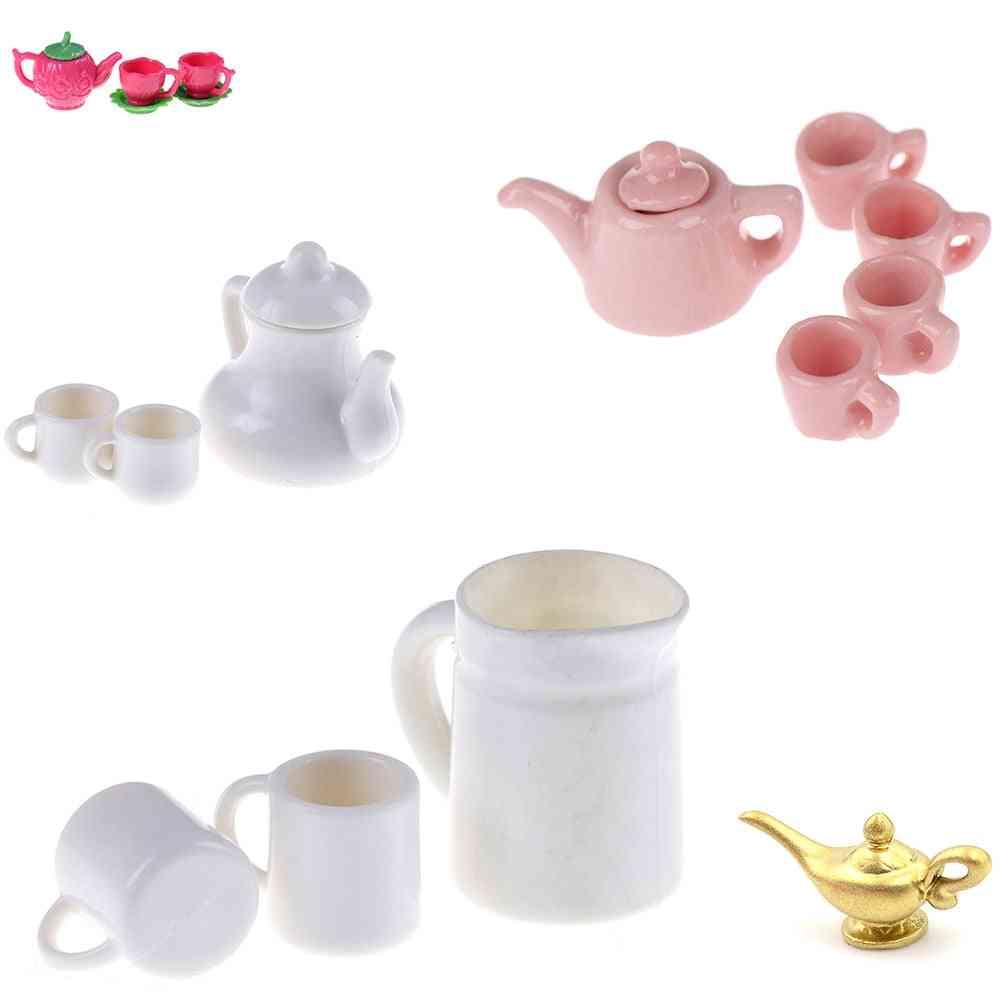 Teapot Coffee Cups , Saucer Tray Plate , Tea Set Pot - Kitchen Decor Dollhouse Miniature Christmas