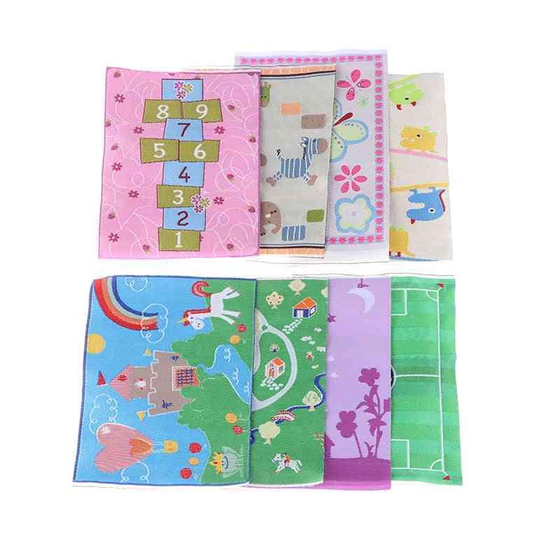 Cartoon Pattern Turkish Carpet Dollhouse - Carpet Mat Rayon Thread , Cartoon Mini Carpet For Doll House