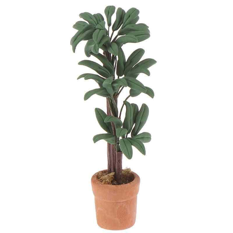 Diy 1:12 Dollhouse Miniature Potted - Plant Pot Green , Garden Decoration For Dollhouse