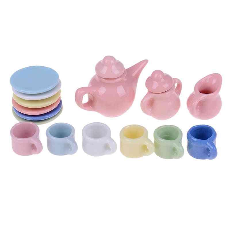 Miniatures Dining Ware - Porcelain Tea Cup Set For Dollhouse