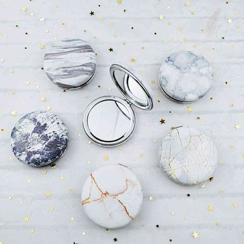 Marble Pattern, Portable And Double Sided-pocket Mirror For Women