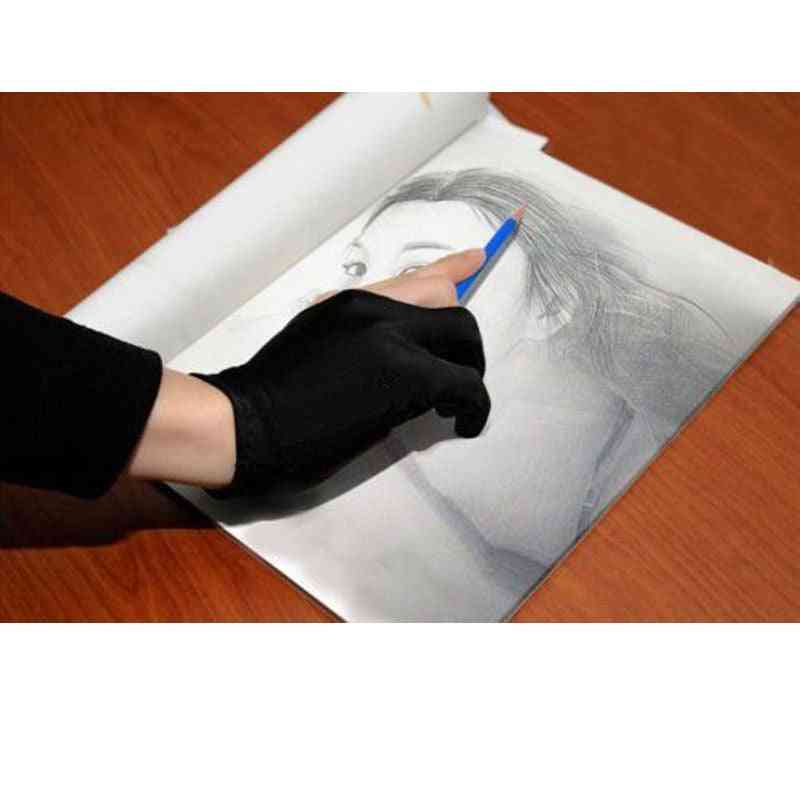 Two Finger Anti-fouling Touch Screen Painting Professional Black Lycra Drawing Glove