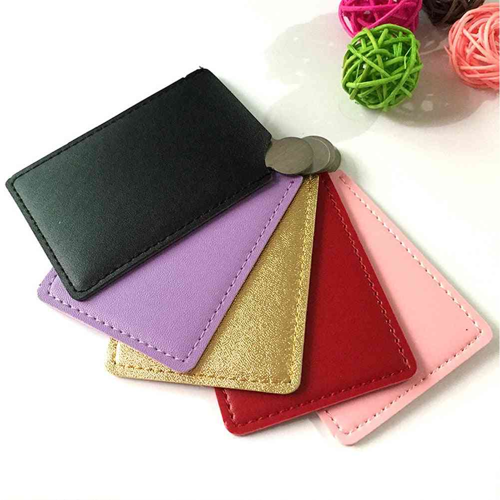 Card Style-high Gloss Polished, Stainless Steel Mirror With Pu Leather Sleeve