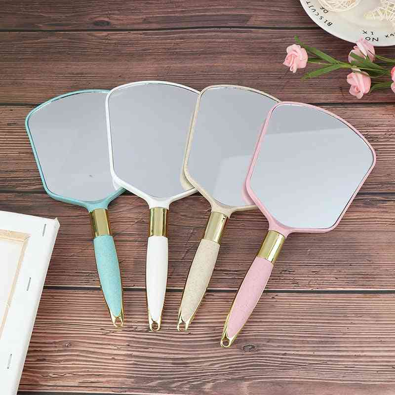 1pc Plastic Vintage Hand Mirrors, Makeup Vanity Mirror, Rectangle Hand Hold Cosmetic Mirror With Handle