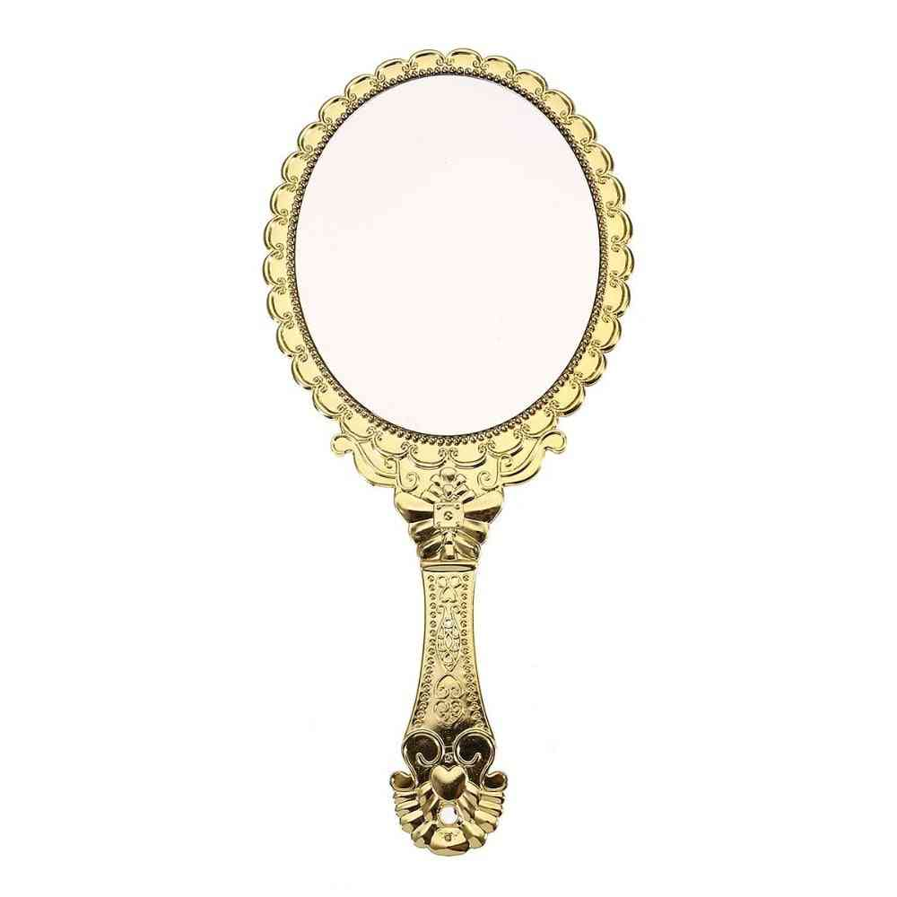 Hand Hold, Oval Shape And Portable-vintage Style Makeup Mirror